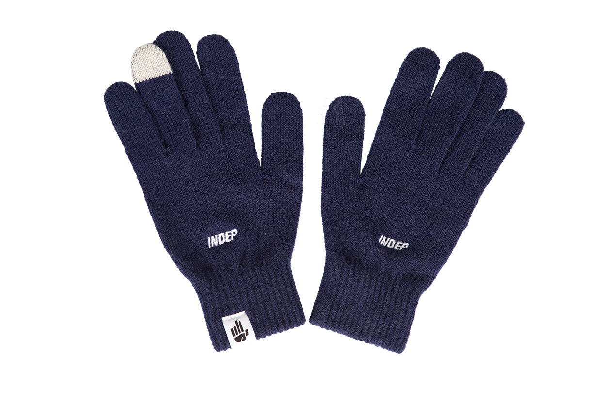 Indep Logo Knitted Gloves(Navy)