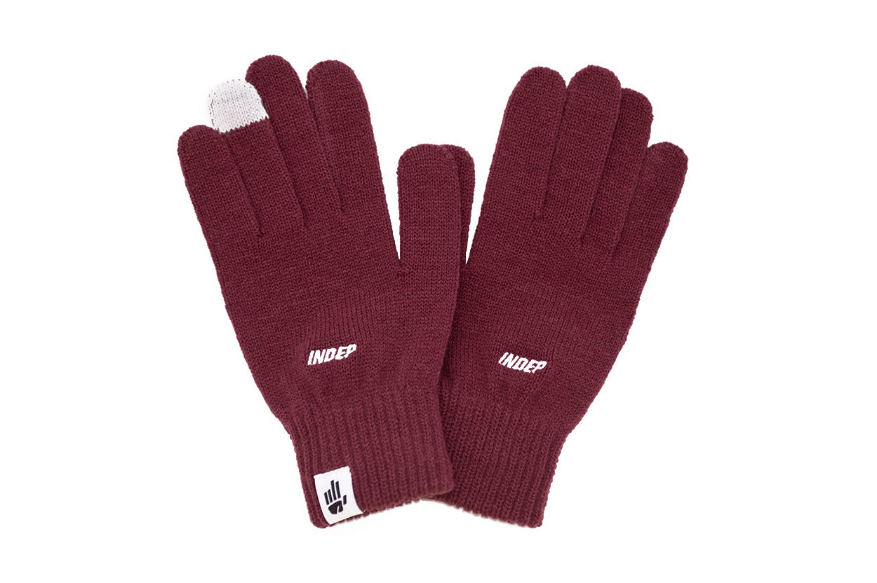 Indep Logo Knitted Gloves(Burgundy)